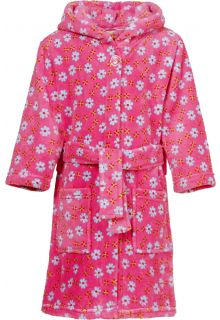 Playshoes - Fleece Bathrobe with hoodie - Flowers Pink - Front