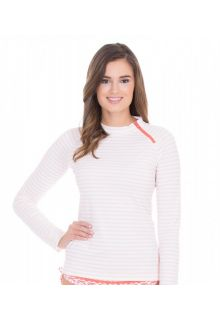 Cabana-Life---UV-resistant-zipper-Rashguard-for-ladies---White/Orange