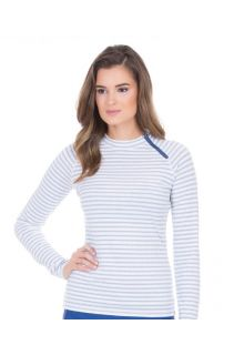 Cabana-Life---UV-resistant-zipper-Rashguard-for-ladies---White/Blue