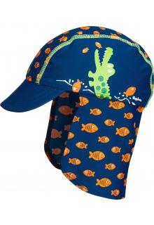 Playshoes - UV sun cap for children - Crocodile - Blue - Front