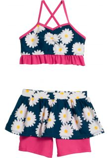 Playshoes - UV swim set two-piece for girls - Oxeye daisy - Blue/pink - Front