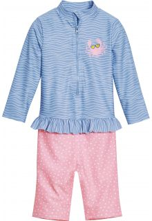Playshoes---UV-swimsuit-for-girls---longsleeve---Crab---Lightblue/Pink