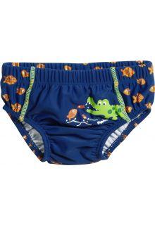 Playshoes - UV swim nappy for boys - Reusable - Crocodile - Blue - Front