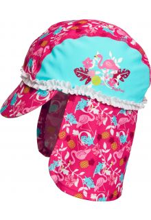 Playshoes - UV sun cap for girls - Flamingo - Aqua blue / pink - Front