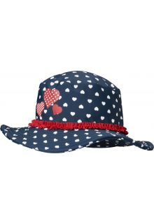 Playshoes - UV sun hat for girls - hearts - blue - Front