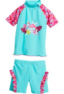 Playshoes - UV swimsuit two-piece for girls - Flamingo - Aqua / pink - Front