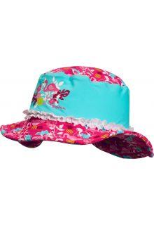 Playshoes - UV sun hat for girls - Flamingo - Aqua blue / pink - Front
