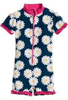 Playshoes - UV swimsuit for girls - Oxeye daisy - Blue / pink - Front