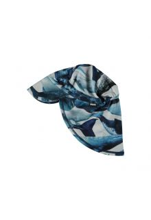 Molo - UV sun cap with neck flap for kids - Nando - Whale print - Front