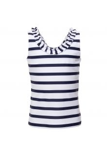 Petit Crabe - UV tankini top - Striped - White/Navy - Front