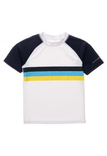 Snapper-Rock---UV-Rash-Top-for-boys---Short-Sleeve---Sunset-Stripe---White/Darkblue-