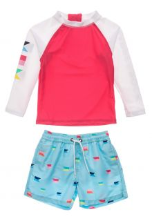 Snapper-Rock---UV-Swim-set-for-baby-boys---Longsleeve---Maritime-Fliers---Coral