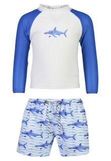 Snapper Rock - UV Swim set for babies - School of Sharks - White/Blue - Front