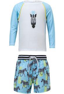 Snapper Rock - UV Swim set with Boardshorts - Zebra - Blue/White - Front