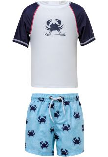 Snapper Rock - UV Swim set with Board Shorts - Blue Crab - Blue/White - Front