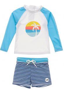 Snapper-Rock---UV-Swim-set-for-baby-boys---Longsleeve---Sunset-Stripe---White/Lightblue