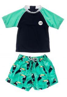 Snapper-Rock---UV-Swim-set-for-baby-boys---Short-Sleeve---Toucan-Talk---Darkblue/Mint