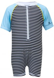 Snapper Rock - UV Swimsuit with short sleeves - Stripes - Black/White/Blue - Front