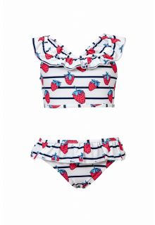 Snapper Rock - Bikini ruffle Strawberry - Blue stripes - Front