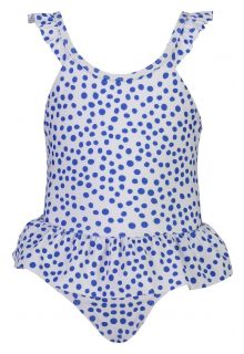 Snapper Rock - Skirted Bathingsuit for babies - Cheetah Spot - White/Blue - Front