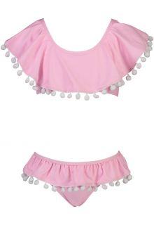 Snapper Rock - Flounce Bikini for girls - Pom Pom - Pink - Front