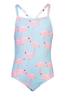 Snapper Rock - X Back Bathingsuit for girls - Flamingo Social - Light blue - Back