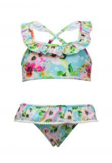 Snapper Rock - Bikini - Watercolor Floral - Blue/Pink - Front
