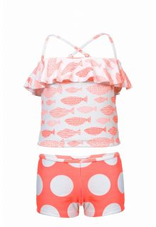 Snapper Rock - Tankini Spotty Fish - Coral red - Front