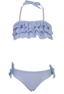 Snapper Rock - Bandeau Bikini for girls - Stripes - Blue/White - Front
