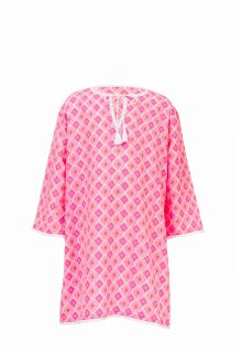 Snapper Rock - Beach tunic Diamond - Coral pink - Front