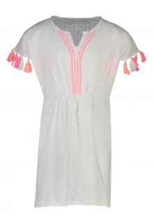 Snapper Rock - Neon Tassel Kaftan for girls - White - Front