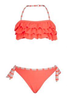 Snapper Rock - Ruffle bandeau bikini - Neon Coral - 0