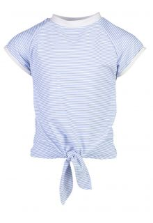 Snapper Rock - UV Swim shirt with front knot for girls - Blue/White - Front