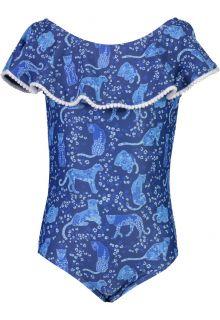 Snapper Rock - Off-Shoulder Bathingsuit for girls - Cheetah Frill - Blue - Front