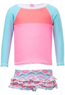 Snapper Rock - UV Swim set Ruffle with long sleeves - Tutti Frutti - Pink/Blue - Front