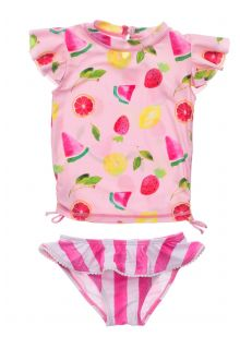 Snapper-Rock---UV-Swim-set-for-baby-girls---Short-sleeve---Fruit-Fiesta---Pink