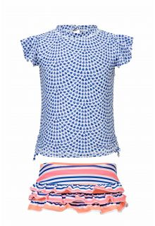 Snapper Rock - Swim set Tear Drop - Blue / pink - Front
