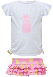 Snapper Rock - UV Swim set Ruffle - Pineapple Spot - White/Pink - Front
