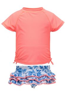 Snapper Rock - UV Swim set Ruffle - Cottage Floral - Pink/Blue - Front