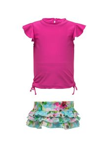 Snapper Rock - UV Swim set Ruffle - Watercolor Floral - Pink/Blue - Front