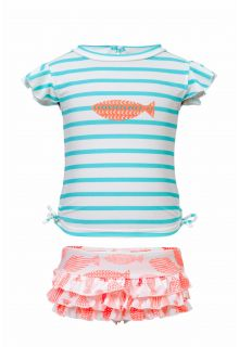 Snapper Rock - UV swim set ruffle Coral Fish - Pink / aqua - Front