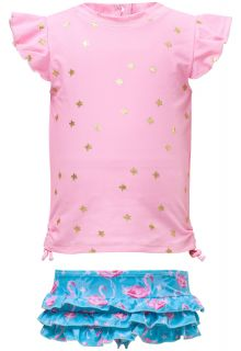 Snapper Rock - UV Swim set Ruffle - Flamingo Star - Pink/Blue - Front