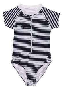 Snapper-Rock---UV-Swim-suit-for-girls---Short-sleeve---Nautical-Stripe---Darkblue/White