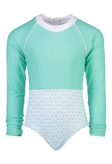 Snapper Rock - Longsleeve UV Bathingsuit for girls- Oceania Sustainable - Aqua - Front