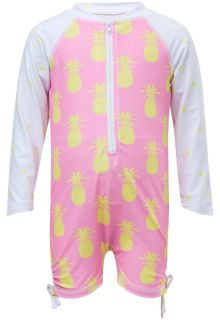 Snapper Rock - UV Swimsuit with long sleeves - Pineapple Spot - Pink/Yellow - Front