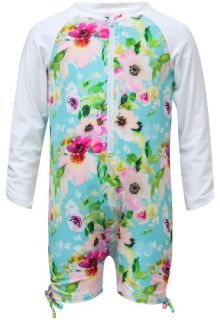 Snapper Rock - UV Swimsuit with long sleeves - Watercolor Floral - Blue/Pink - Front