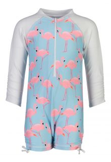 Snapper Rock - UV Swim suit long sleeves - Flamingo Social - Light blue - Front