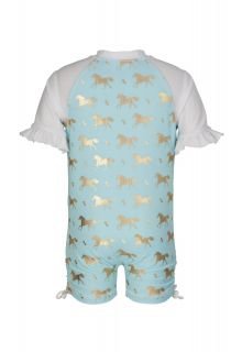 Snapper Rock - Short Sleeve Sunsuit - Gold Horse - Back