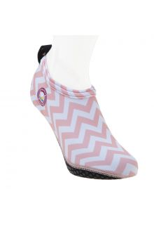 Duukies - Womens UV Beach Socks - Ladies Zigzag Pink - Pink Stripes - Front
