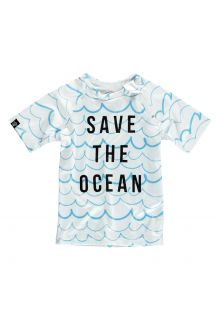 Beach & Bandits - UV swim shirt child - Save the ocean - Blue / white - Front